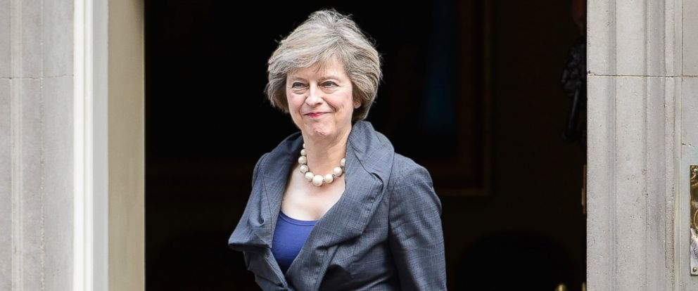 PHOTO: New Conservative party leader Theresa May at Downing Street. Prime Minister David Cameron hosts his final cabinet meeting at Downing Street, London, July 12, 2016 in London.