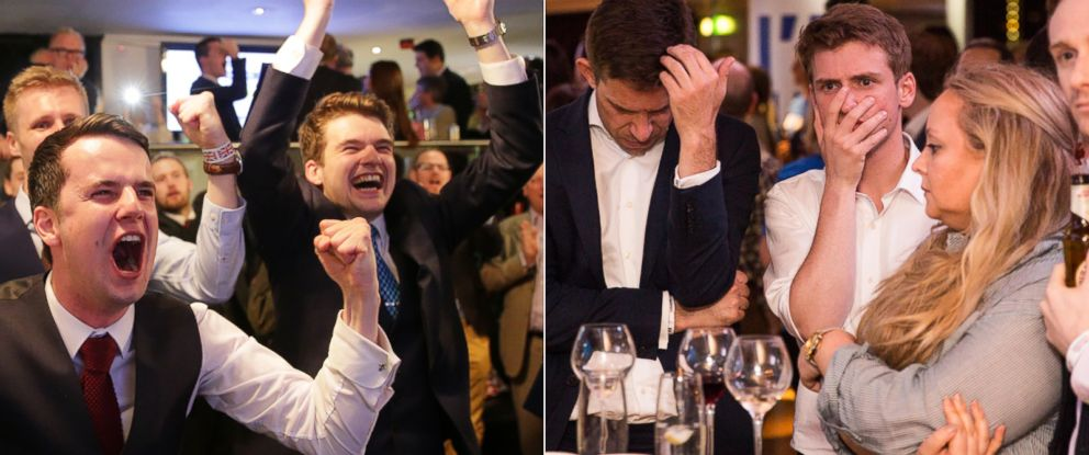 PHOTO: Supporters of the Leave campaign celebrate at the at a party in London, june 24, 2016. | Supporters of the Stronger In Campaign react as results of the EU referendum are announced at the Royal Festival Hall, June 24, 2016, in London.