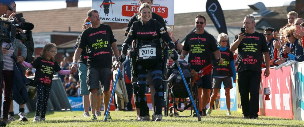 PHOTO: Claire Lomas finishes her five day challenge in a bionic rewalk suit, Sept. 11, 2016.