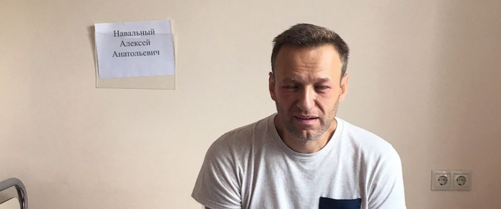 PHOTO: A photo of Russian opposition leader Alexei Navalny sitting on a hospital bed in Moscow, was posted to his website, July 29, 2019. His lawyer says he might have been poisoned while in jail.
