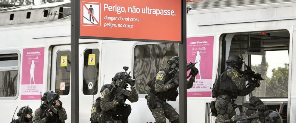 PHOTO: Soldiers take part in an anti-terror exercise at the Deodoro train station in Rio de Janeiro, Brazil, July 16, 2016, just weeks before the Summer Olympics are set to begin.