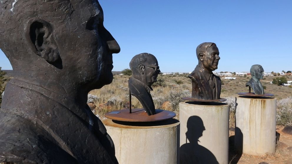In a circle were weathered busts of prominent Afrikaners- former presidents, war heroes, and notable Hendrik Verwoerd, the former prime minister of South Africa and the man who's credited as the architect of apartheid.