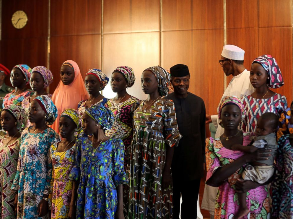 PHOTO: Some of the 21 Chibok schoolgirls released by Boko Haram look on during their visit to meet President Muhammadu Buhari In Abuja, Nigeria, Oct. 19, 2016.