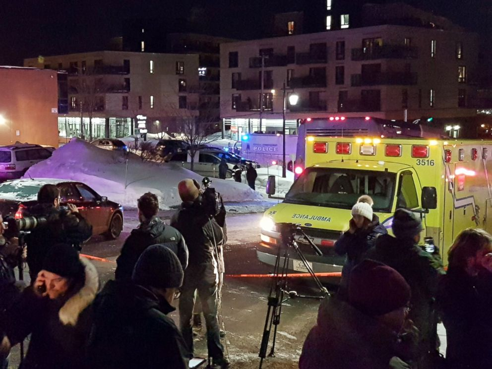 PHOTO: An ambulance is parked at the scene of a fatal shooting at the Quebec Islamic Cultural Centre in Quebec City, Canada, Jan. 29, 2017.