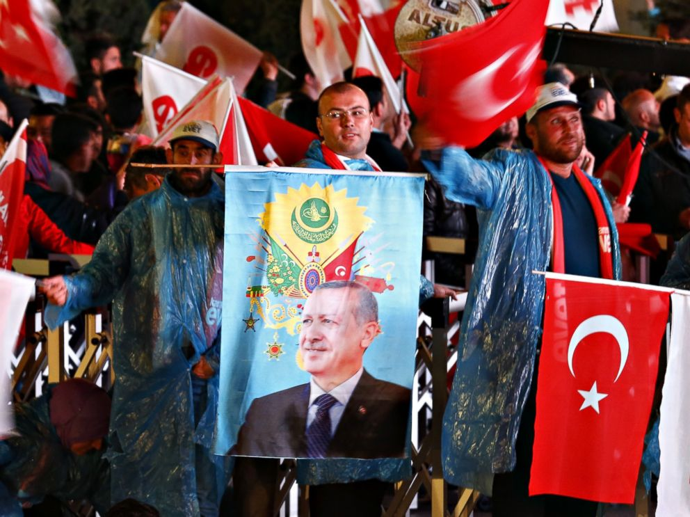 PHOTO: Supporters of the conservative AK party, founded by Turkish President Recep Tayyip Erdogan, celebrate victory in the referendum vote to amend the countrys constitution, April 16, 2017, in Ankara, Turkey.