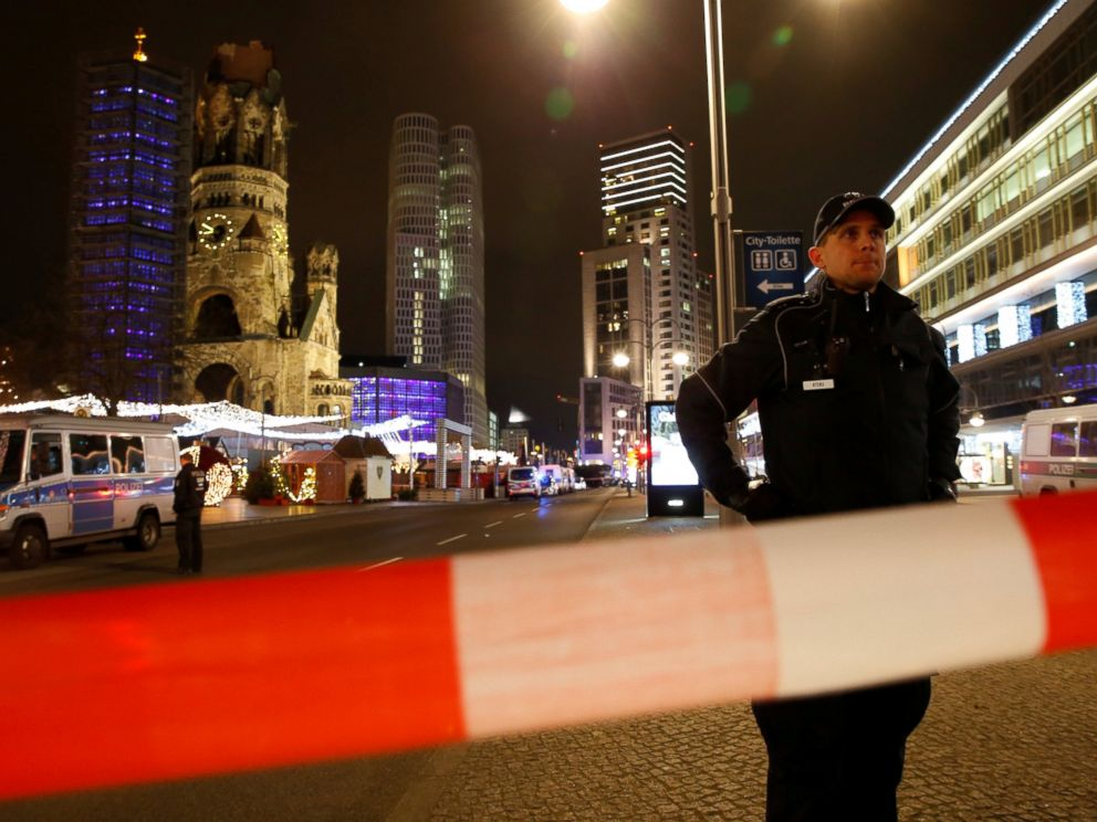 PHOTO: Police secures the area at the site of an accident at a Christmas market on Breitscheidplatz square near the fashionable Kurfuerstendamm avenue in the west of Berlin, Dec. 19, 2016.