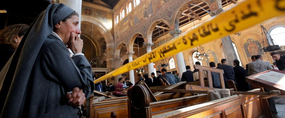 PHOTO: A nun cries as she stands at the scene inside Cairos Coptic cathedral, following a bombing, in Egypt, Dec. 11, 2016.