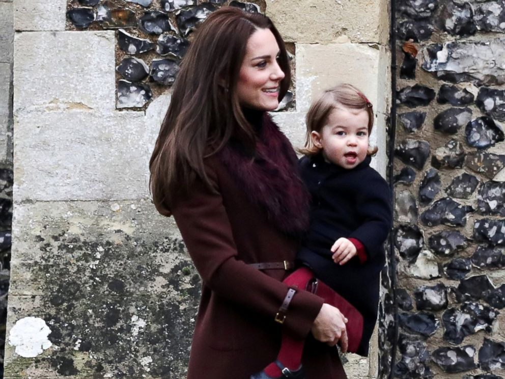 PHOTO: Catherine, The Duchess of Cambridge and Princess Charlotte arrive to attend the morning Christmas Day service at St Marks Church in Englefield, near Bucklebury in southern England, Dec. 25, 2016.