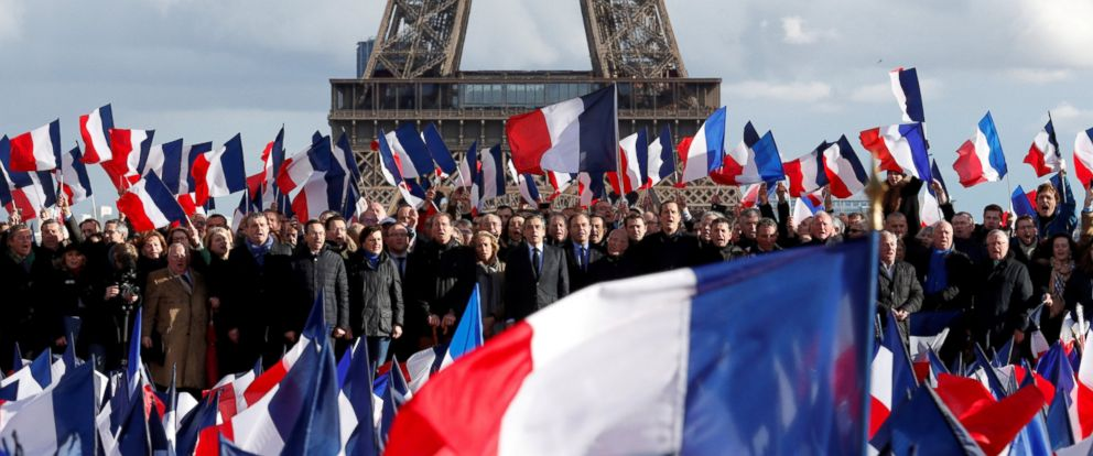 PHOTO: A rally for Francois fillon, a French presidential candidate, at the Trocadero square across from the Eiffel Tower in Paris, March 5, 2017.