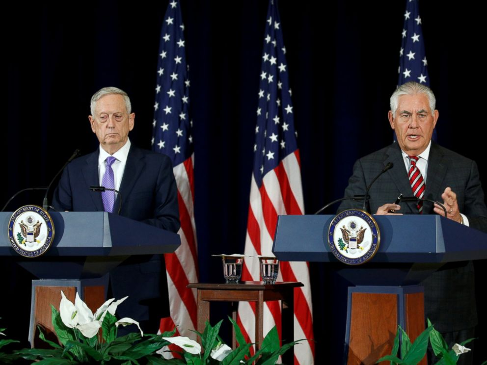 PHOTO: Secretary of Defense James Mattis and Secretary of State Rex Tillerson hold a press conference at the State Department in Washington, June 21, 2017.