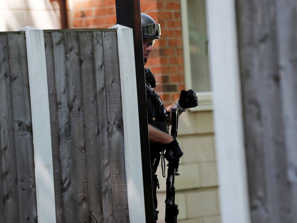 PHOTO: An armed police officer stands outside a residential property near to where a man was arrested in the Chorlton area of Manchester, England, May 23, 2017.