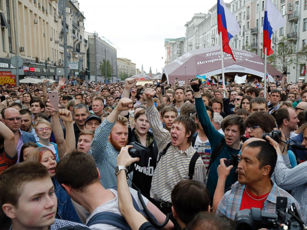 PHOTO: Protesters shout out and gesture during a demonstration in downtown Moscow, June 12, 2017.