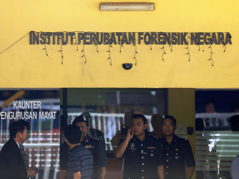 PHOTO: Police officers stand outside the Kuala Lumpur Hospital where the body of Kim Jong Nam is held for autopsy in Kuala Lumpur, Malaysia Feb. 15, 2017.
