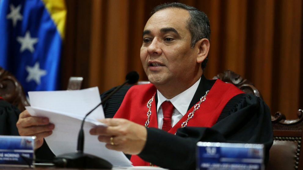 Venezuela's Supreme Court President Maikel Moreno, speaks during a news conference at the Supreme Court of Justice (TSJ) in Caracas, Venezuela April 1, 2017.
