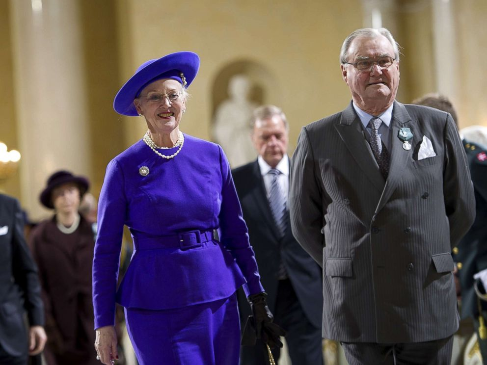 PHOTO: Danish Queen Margrethe and Prince Consort Henrik arrive for the commemoration service in the church in Christiansborg Castle, Copenhagen on the occasion of Danish Queen Margrethes 40th jubilee in this Jan. 15, 2012 file photo.