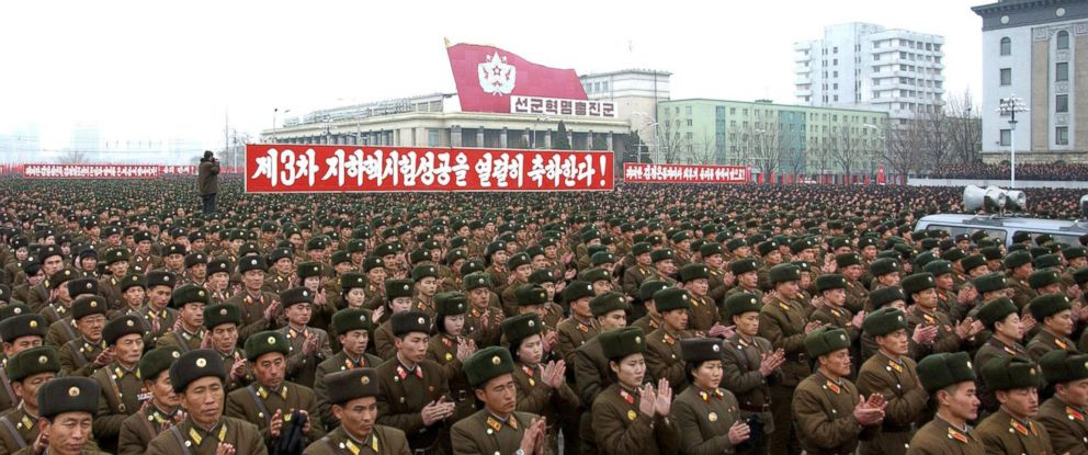 PHOTO: North Korean soldiers attend a rally celebrating the countrys third nuclear test at the Kim Il-Sung square in Pyongyang in this Feb. 14, 2013 file photo.