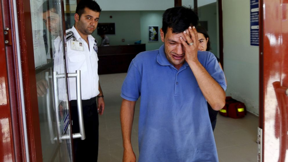 Abdullah Kurdi, father of three-year old Alan Kurdi, cries as he leaves a morgue in Mugla, Turkey, Sept. 3, 2015.
