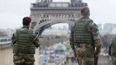 "PHOTO: French soldier patrols near the Eiffel Tower in Paris as part of the highest level of ""Vigipirate"" security plan after a shooting at the Paris offices of Charlie Hebdo January 9, 2015."