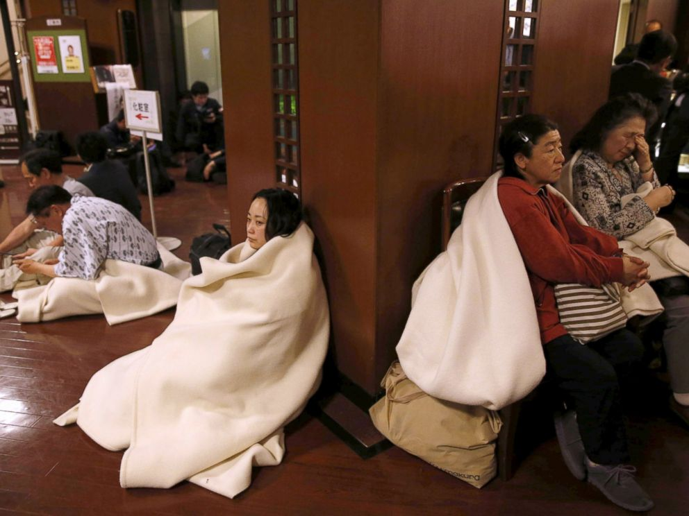 PHOTO: Hotel guests gather at the lobby after another earthquake hit the area in Kumamoto, southern Japan, in this photo taken by Kyodo, April 16, 2016.