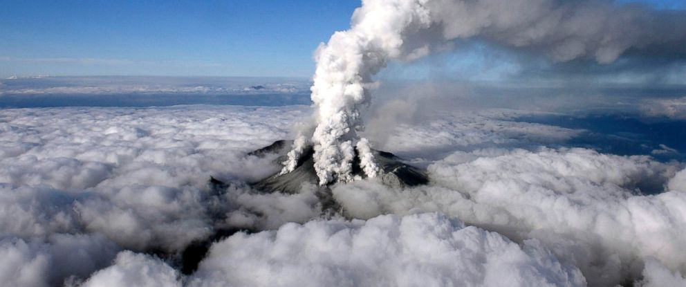PHOTO: Volcanic smoke rises from Mount Ontake, which straddles Nagano and Gifu prefectures, central Japan, Sept. 27, 2014, in this photo taken and released by Kyodo.
