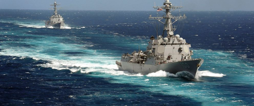 PHOTO: The Arleigh Burke-class guided-missile destroyers USS Kidd and USS Pinckney are seen en transit in the Pacific Ocean in this U.S. Navy picture taken May 18, 2011.