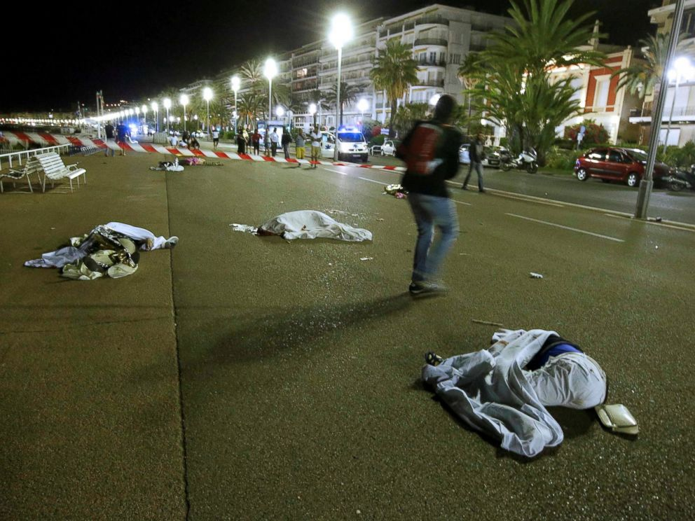 PHOTO: Bodies are seen on the ground, July 15, 2016, after at least 30 people were killed in Nice, France, when a truck ran into a crowd celebrating the Bastille Day national holiday July 14.