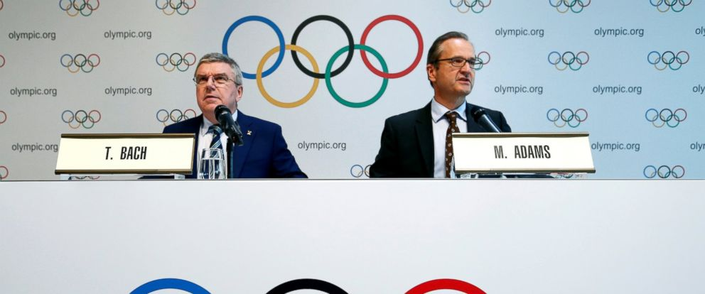 PHOTO: International Olympic Committee, President Thomas Bach gives a news conference with Mark Adams, IOC Chief of Communications, after the Olympic Summit on doping in Lausanne, Switzerland, June 21, 2016.