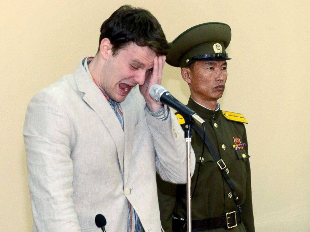 PHOTO: U.S. student Otto Warmbier cries at court in an undisclosed location in North Korea, in this photo released by North Koreas Korean Central News Agency (KCNA) in Pyongyang on March 16, 2016.