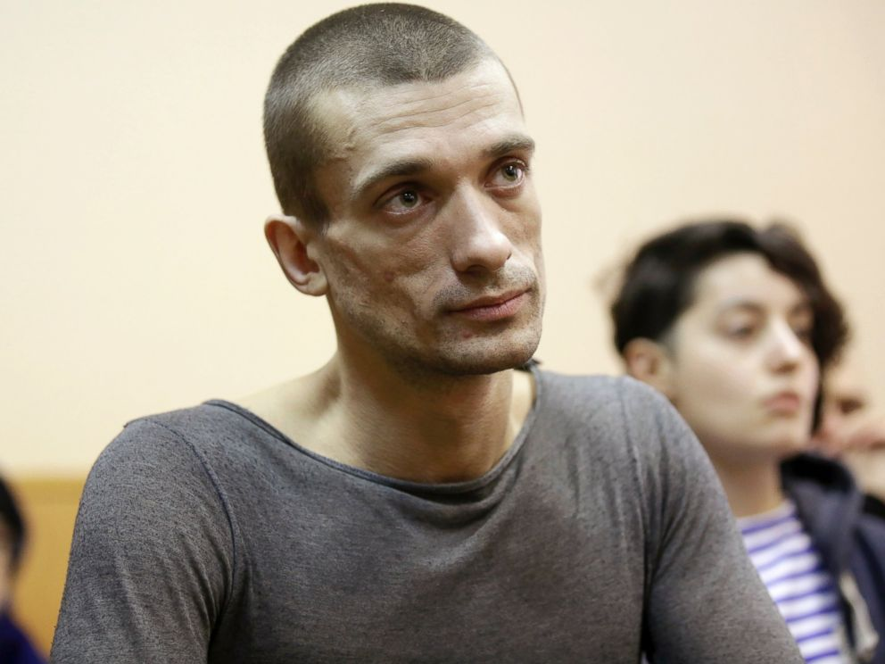 PHOTO: Artist Pyotr Pavlensky listens during a hearing at a Russian courthouse in St.Petersburg, Russia, Feb. 24, 2014.
