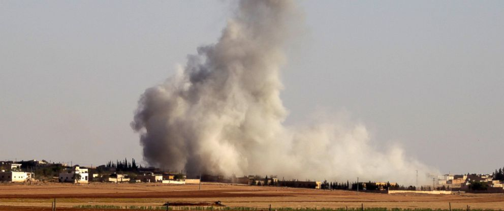 PHOTO: Smoke rises from airstrikes on Guzhe village, northern Aleppo countryside, Syria, Oct. 17, 2016.