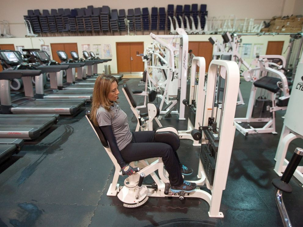 PHOTO: An embassy employee works out in a facilities building inside the compound of the U.S. embassy in Baghdad, Dec. 14, 2011.