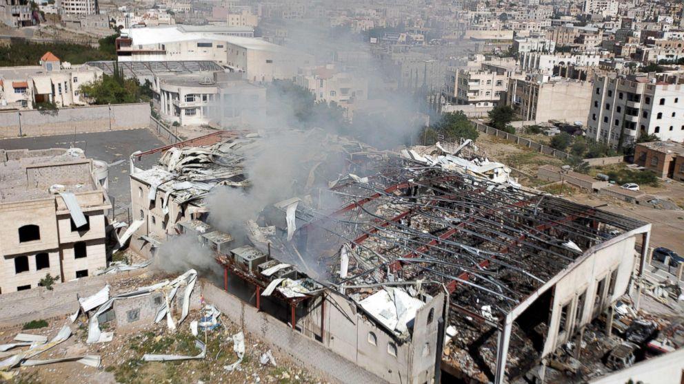 Smoke rises from the community hall in Sanaa, Yemen, Oct. 9, 2016.