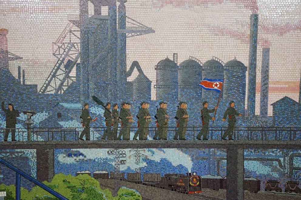 PHOTO: A mosaic on a wall in Rakwon Station, Pyongyang, North Korea, June 8, 2019.