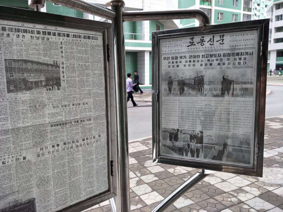 PHOTO: A copy of the latest issue of North Koreas state-run newspaper Rodong Sinmun on display for public viewing, Pyongyang, North Korea, June 11, 2018 Credit: Alek Sigley