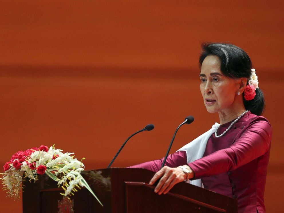 PHOTO: Myanmars State Counsellor Aung San Suu Kyi delivers a televised speech to the nation at the Myanmar International Convention Center in Naypyitaw, Myanmar, Sept. 19, 2017.