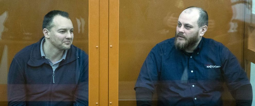PHOTO: The former chief of the cybercrime department at Russias main domestic security agency Sergei Mikhailov, left, and an employee of Kaspersky Lab cybersecurity firm Ruslan Stoyanov attend a hearing in a court in Moscow, Russia, Feb. 26, 2019.
