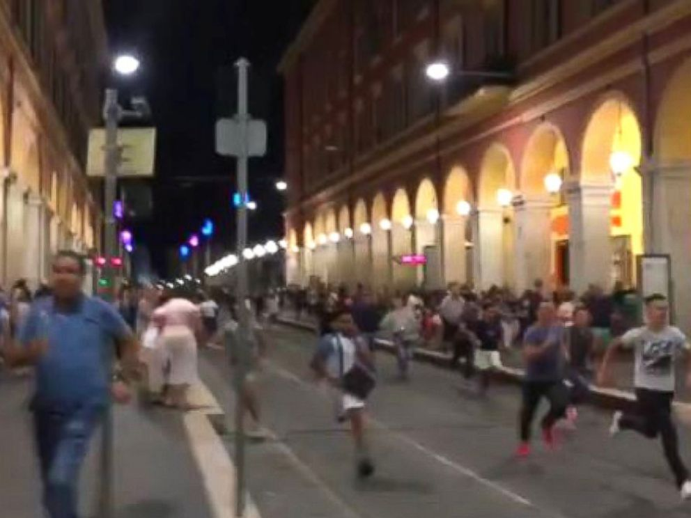 PHOTO: A panicked crowd ran on Bastille Day in Nice, France, on July 14, 2016.