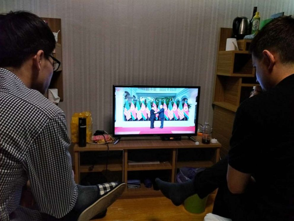 PHOTO: Students watch a documentary about the North Korea?United States Singapore Summit from their dorm room at Kim Il Sung University, Pyongyang, North Korea, June 14, 2018.