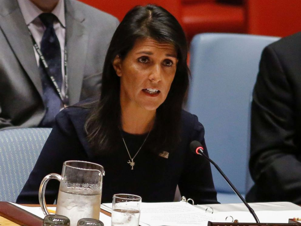 PHOTO: United States Ambassador to the United Nations Nikki Haley speaks during a UN Security Council emergency meeting over North Koreas latest missile launch, on September 4, 2017 at UN Headquarters in New York.