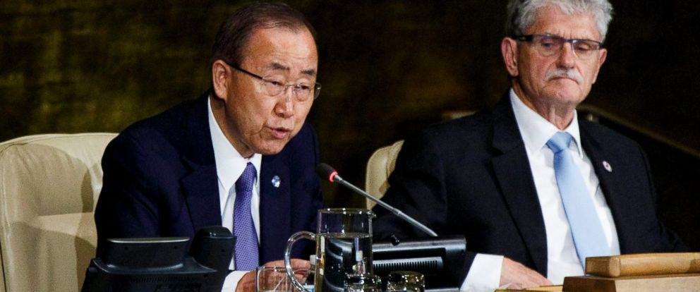 PHOTO: U.N. Secretary-General Ban Ki-moon (L) speaks as Mogens Lykketoft (R), president of the UN General Assembly, listens at the start of a high-level meeting of the United Nations General Assembly on HIV/AIDS in New York, NY, on June 8, 2016.