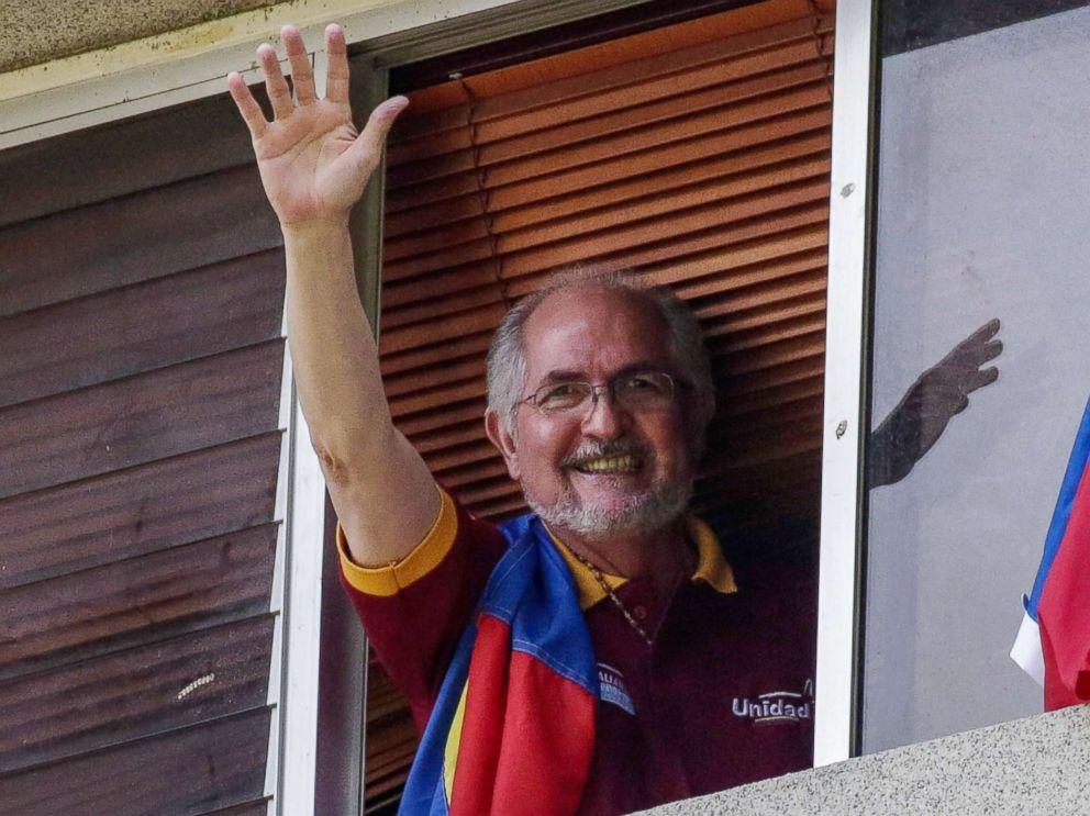 PHOTO: Antonio Ledezma waves from a window of his residence in Caracas, Venezuela, July 16, 2017.