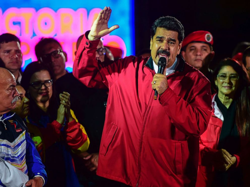 PHOTO: Venezuelan president Nicolas Maduro celebrates the results of Constituent Assembly, in Caracas, on July 31, 2017.