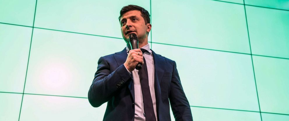 PHOTO: Comedian and leading Ukrainian presidential candidate Volodymyr Zelenskiy speaks to reporters following the closing of balloting at his election night gathering on March 31, 2019 in Kiev, Ukraine.