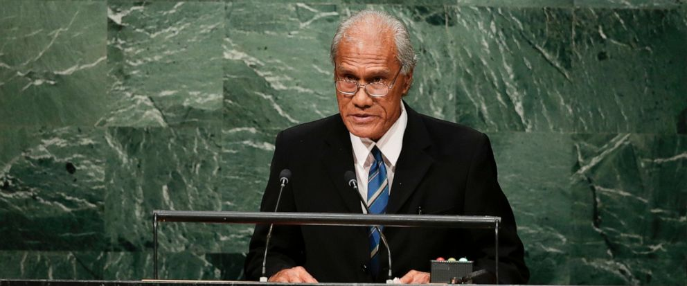 FILE - In this Sept. 26, 2015, file photo, Tongan Prime Minister Akilisi Pohiva addresses the 2015 Sustainable Development Summit at the United Nations headquarters in New York. Pohiva, who is credited with helping bring democracy to the small Pacif