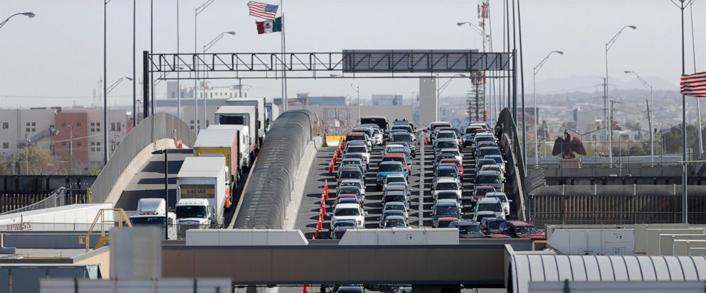 FILE - In this March 29, 2019 file photo, cars and trucks line up to enter the U.S. from Mexico at a border crossing in El Paso, Texas. A 2½-year-old Guatemalan child has died after crossing the border, becoming the fourth minor known to have died af