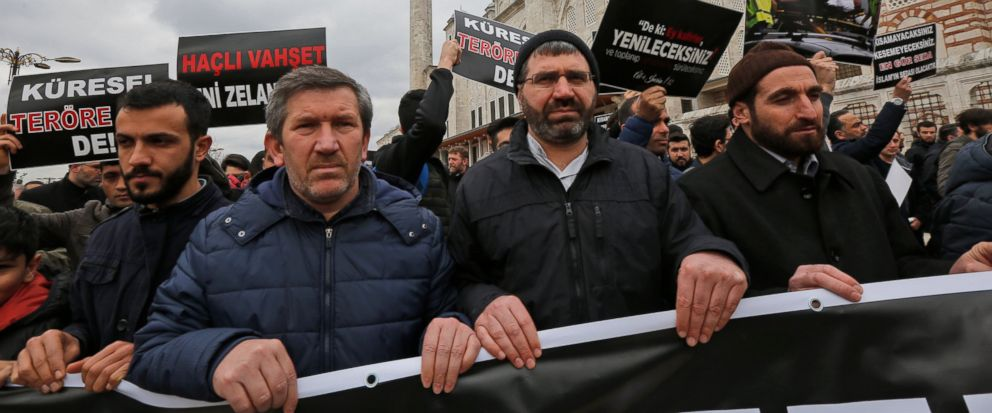 Demonstrators march after the mosque attacks in New Zealand, during a protest in Istanbul, Friday, March 15, 2019. World leaders expressed condolences and condemnation Friday following the deadly attacks on mosques in the New Zealand city of Christch