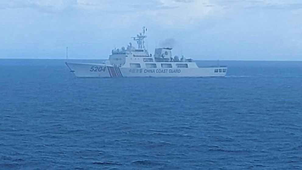 FILE - This undated file photo released on Tuesday, Sept. 15, 2020, by Indonesian Maritime Security Agency (BAKAMLA) shows a Chinese Cost Guard ship sails in North Natuna Sea. Earlier this month, an Indonesian patrol ship confronted a Chinese coast g