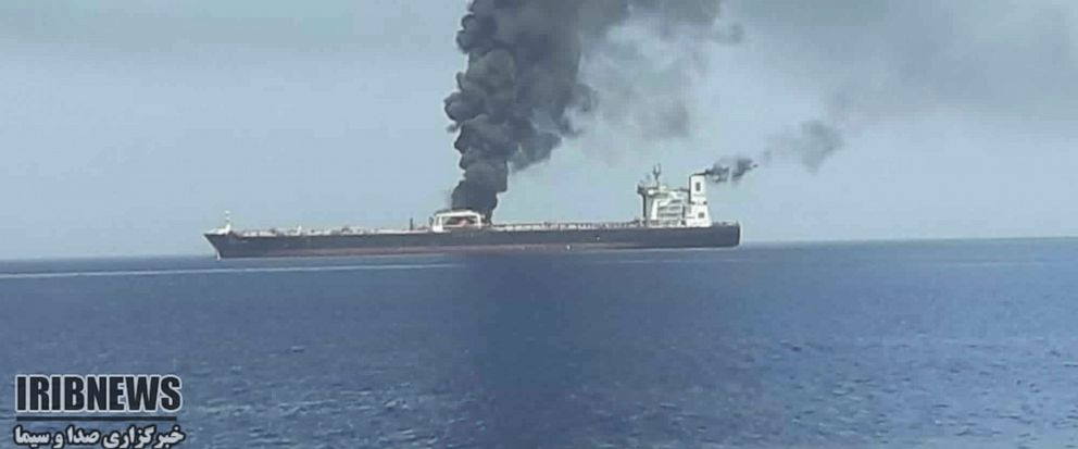 In this photo released by state-run IRIB News Agency, an oil tanker is on fire in the sea of Oman, Thursday, June 13, 2019. Two oil tankers near the strategic Strait of Hormuz have been reportedly attacked. The alleged assault on Thursday left one ab