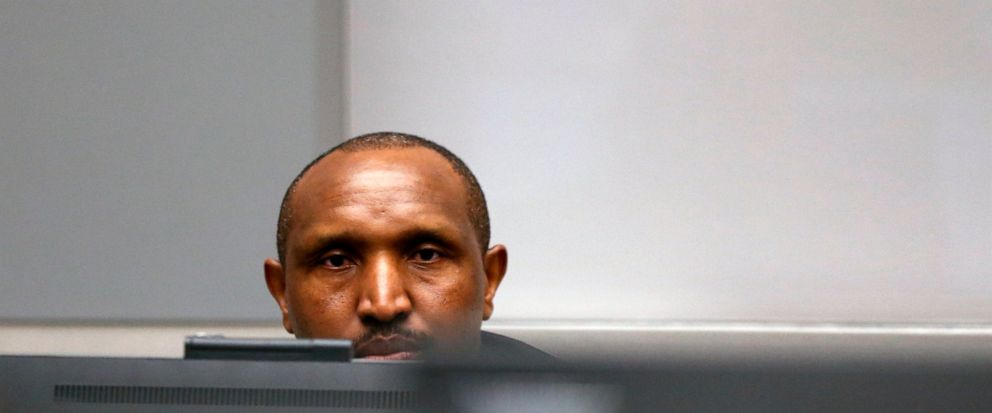 Congolese militia commander Bosco Ntaganda sits in the courtroom of the ICC (International Criminal Court) during his trial at the Hague in the Netherlands, Monday July 8, 2019. The ICC is expected to pass judgement Monday on Ntaganda, accused of ove