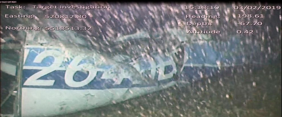 In this image released Monday Feb. 4, 2019, by the UK Air Accidents Investigation Branch (AAIB) showing the rear left side of the fuselage including part of the aircraft registration N264DB, in the English Channel after it went missing carrying Argen